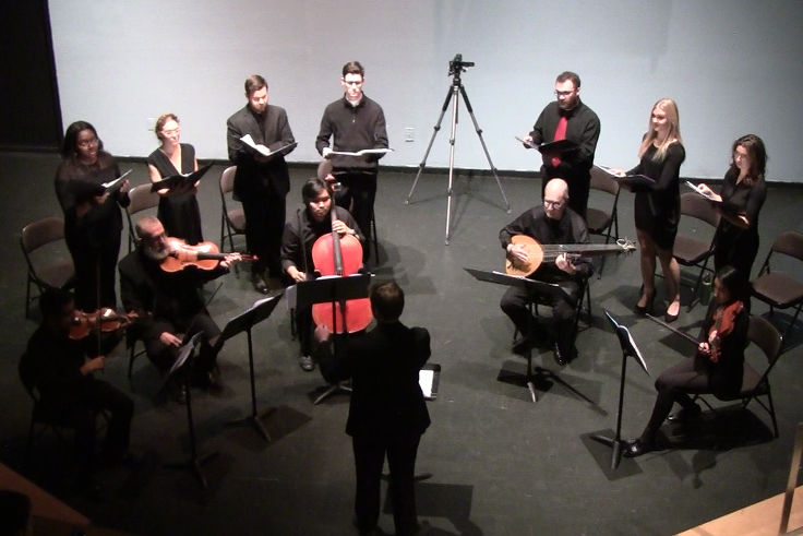Photograph of a performance given by students of the Musical Rhetoric Workshop.